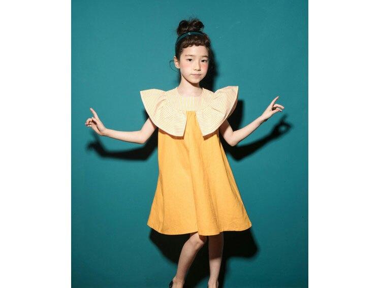 2018 fashion patchwork ruffles dress baby girls dresses for kids summer petal sleeve cotton princess dresses children clothing   (2)