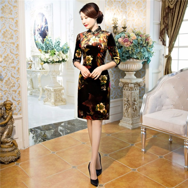 Free Shipping Half Sleeve Velvet Qipao Traditional Chinese Dress Women's Clothing Cheong-sam China Dress