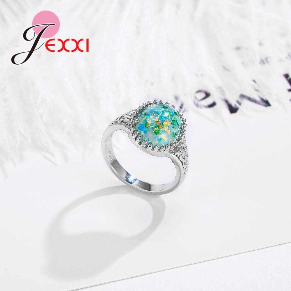 Hàng Mới Về Nữ Nữ Trang Sức Dự Tiệc Nữ Bạc 925 Rỗng Hoa Văn Nhẫn Oval Lớn AAA + Xanh Opal Bán Buôn