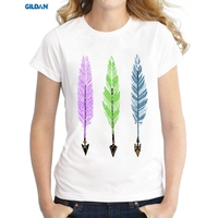 GILDAN Hot Sale Feathers And Arrows Design Women T Shirt Colorful Printed Novelty Tee Short Sleeve
