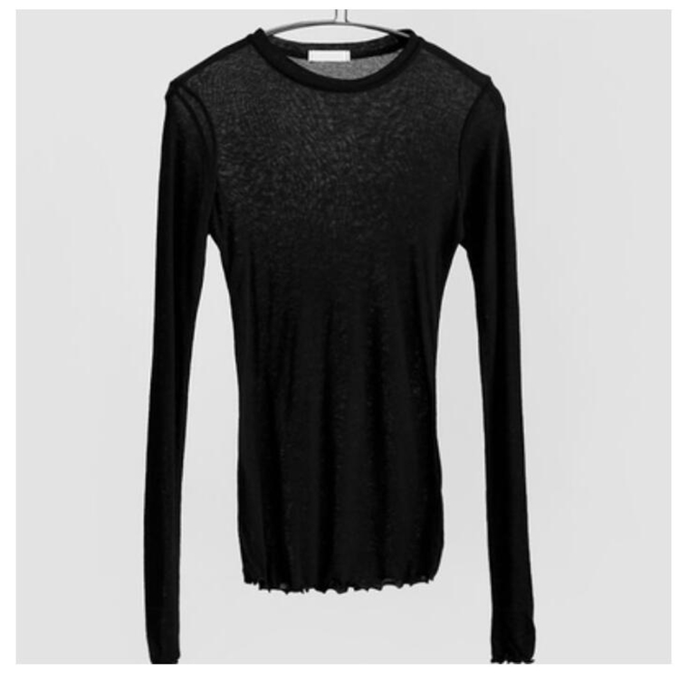 Slim High Quality Plain T Shirt Women Cotton Elastic Basic T-shirts Female Casual Tops Long Sleeve Sexy Thin T-shirt see through 7