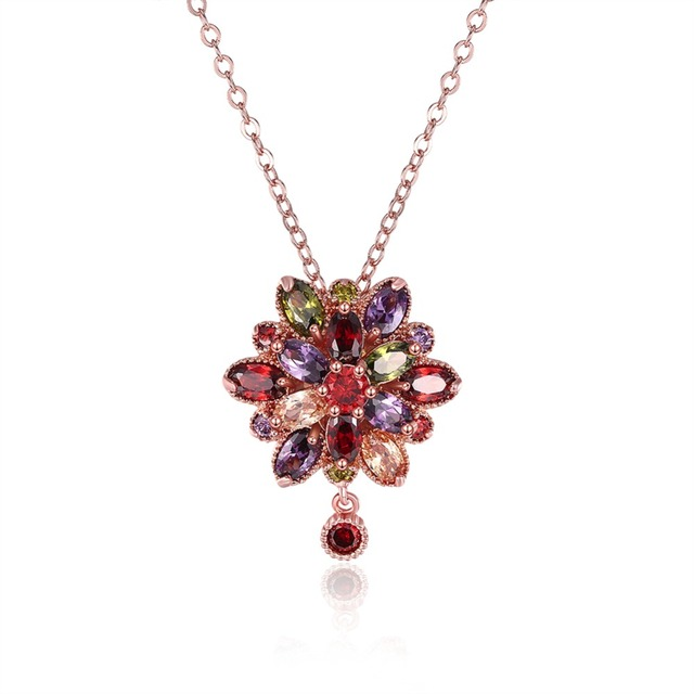2017 Hot Infinity Eternity Necklace Fashion Rose Gold Colorful