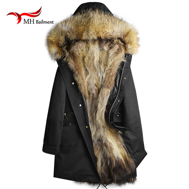Men and Women Real Fur Long Raccoon Fur Lined Hooded Jacket Thick Parkas Winter Natural Real Raccoon Fur Collar Coats A#40