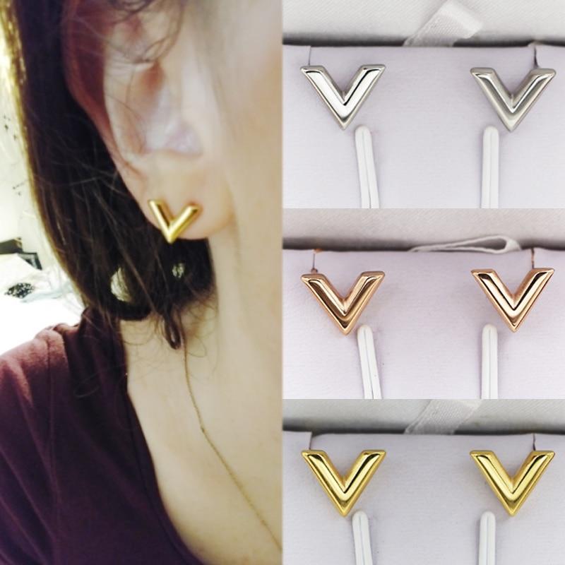 2018 New Hot Women Trend Earrings Metal Style Letter V Shaped Wedding Cute Gifts Girls Rose Gold & Silver Stud Earring