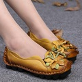 Women Genuine Leather Flat Shoes Woman Loafers 2016 New Fashion Women Casual Handmade Flower Women Flats