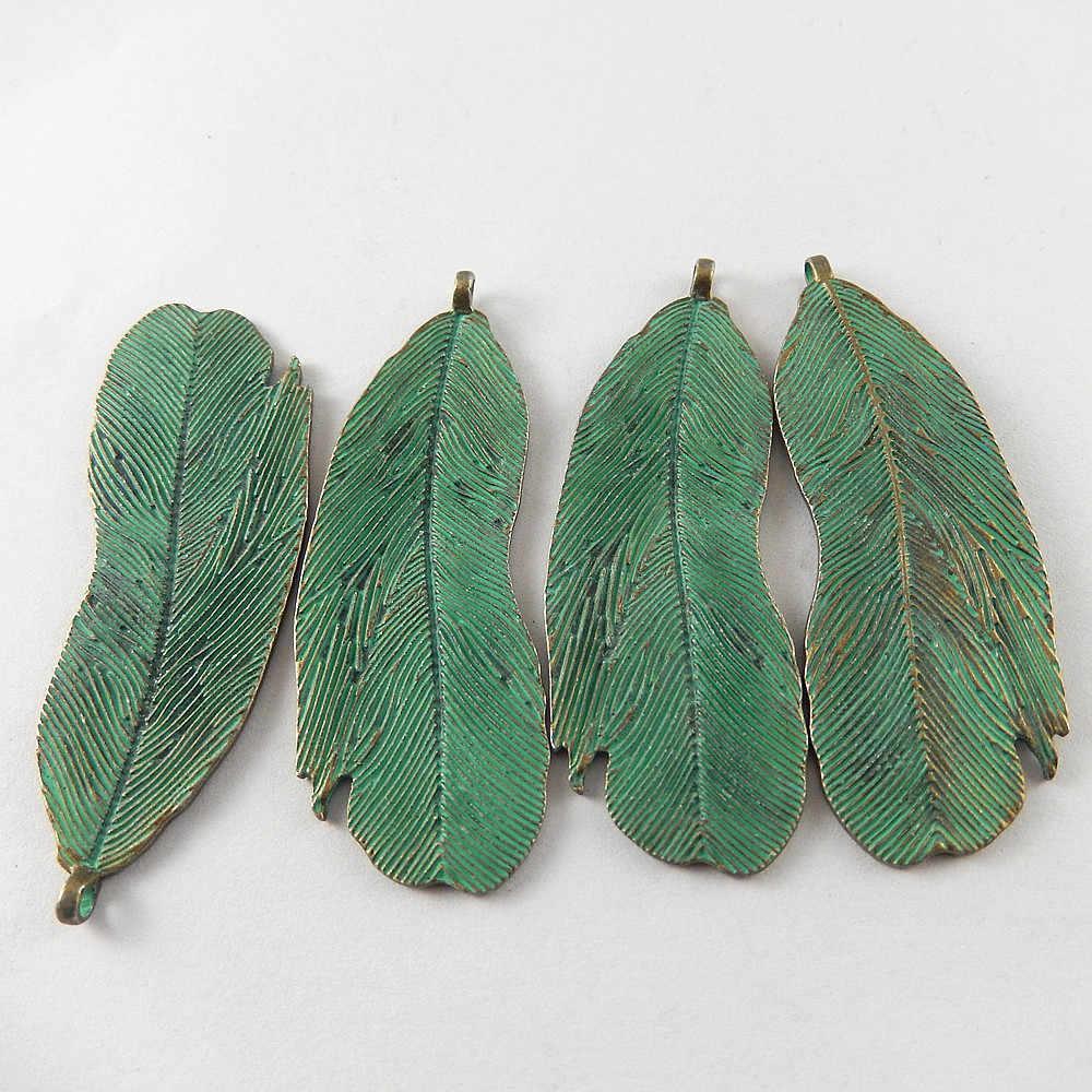 GraceAngie 5 шт. 63*23*1 мм Античная зеленая бронза персональные подвески в виде листьев для ювелирных изделий в поисках Аксессуары для ожерелья
