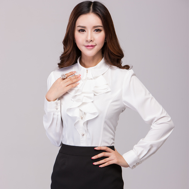 2018 Spring and autumn Plus size Women's White Polo Shirts Long ...