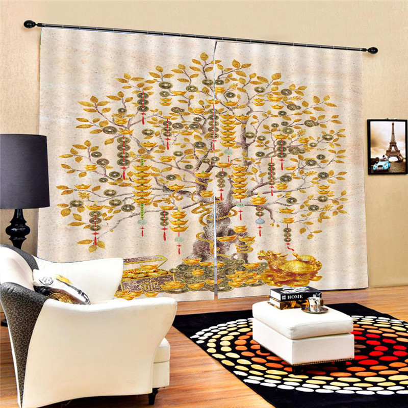 Money Tree Living Room Curtain Curtain Decor for Bedroom Window Treatment Drapes Digital Print 3D Blackout Decoration Oct29