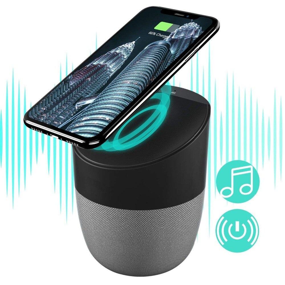 Bluetooth Haut-Parleur avec Qi Sans Fil De Charge Pad Super Bass Stéréo Sans Fil Haut-parleurs pour iPhone X/8/8 plus android Samsung S8