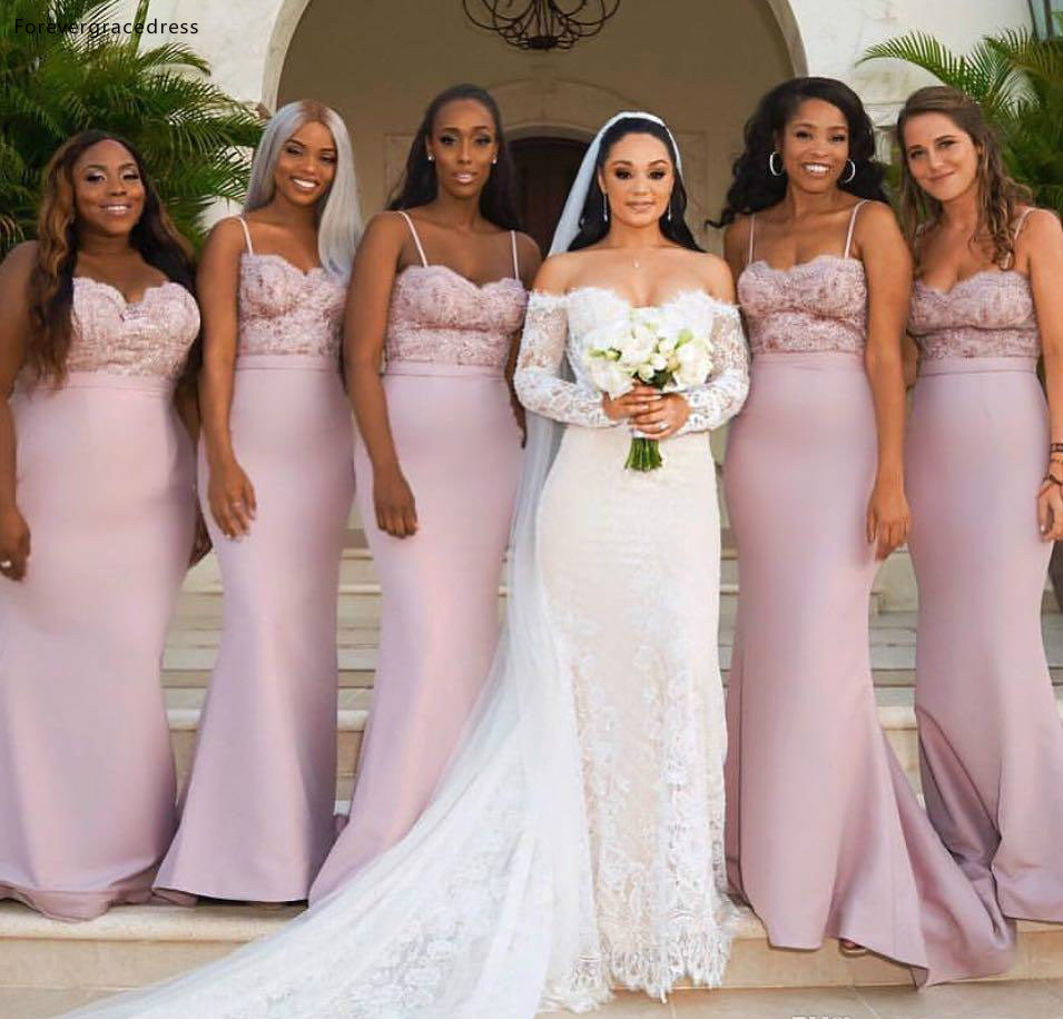 Pink Long Bridesmaid Dress Lace Appliques Summer Country Garden Formal Wedding Party Guest Maid Of Honor Gown Plus Size