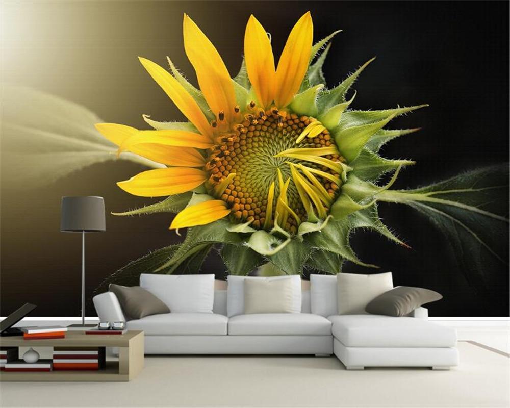 Beibehang Custom wallpaper HD beautiful sunflower hand painted TV ...
