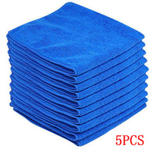 5pcs Microfiber Wash Clean Towels Cleaning Cloths Blue Car Furniture Duster Soft 30x30cm