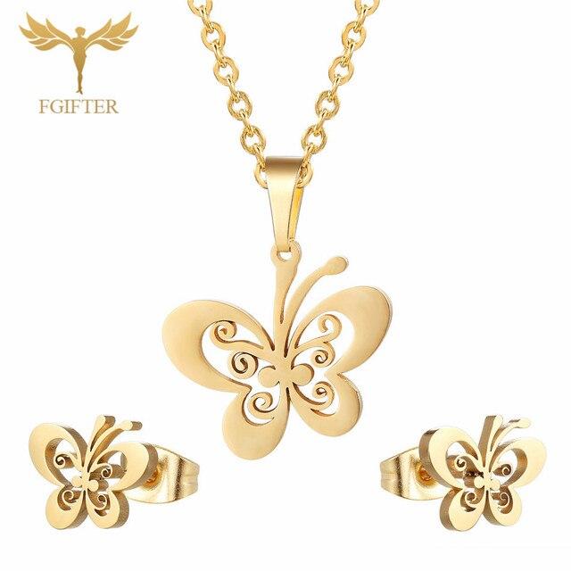 FGifter זהב פרפר עגילי שרשרת תכשיטי סטים עבור בנות ילדי נירוסטה תכשיטי ילדי מתנות סיטונאי