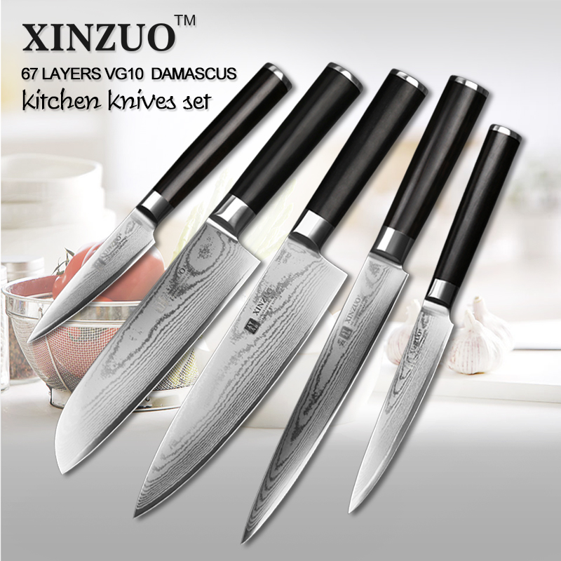 XINZUO 5 pcs kitchen font b knife b font set paring utility cleaver Damascus Chef font
