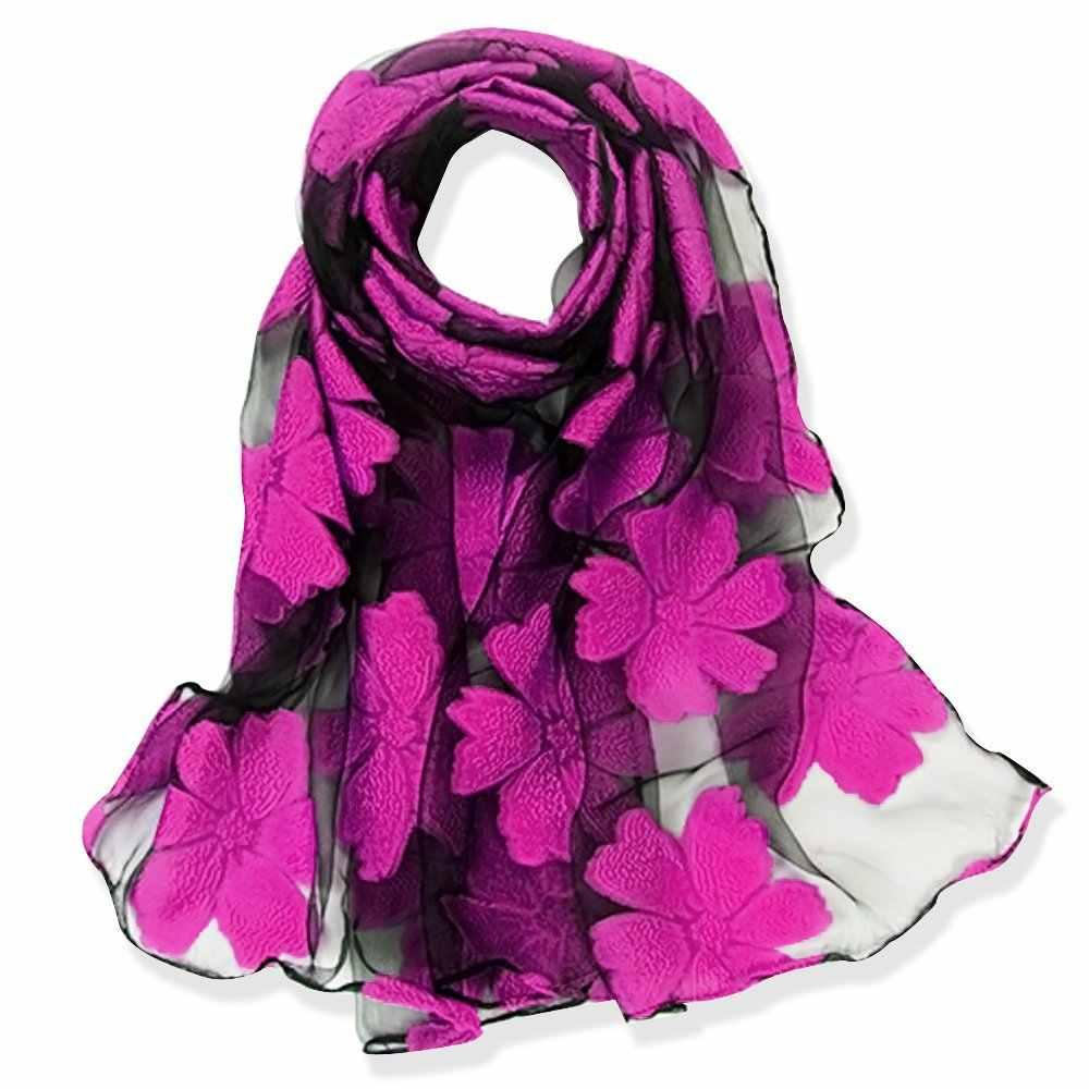 ファッションエレガントな女性の花オーガンザロングラップスカーフソフトシルクガーゼショール女性ギフト S9077