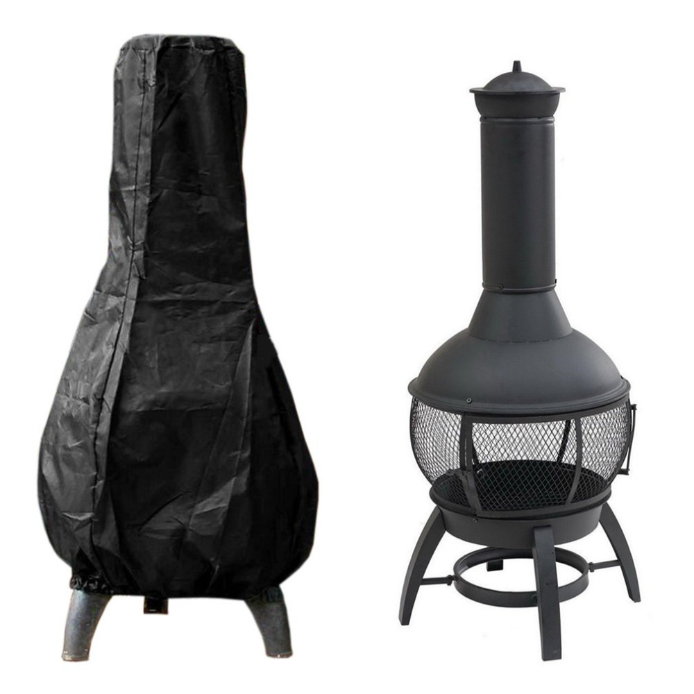Polyester Fireproof Black Hookah Charcoal Burner Chiminea Covers For BBQ Grill Outdoor Barbecue Cover Heavy Duty Waterproof sahoo 45516 outdoor cycling sunproof polyester sleeves covers black white pair xxl