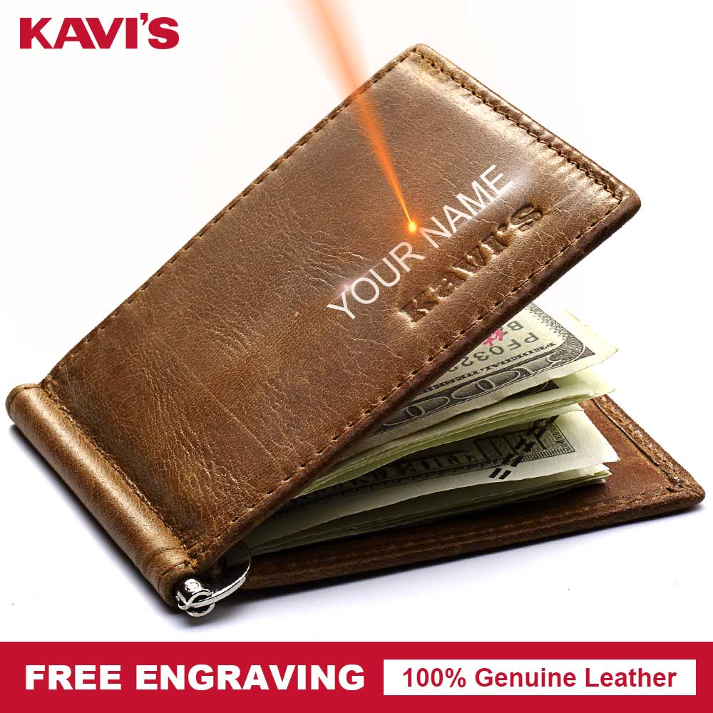 KAVIS High Quality Small Genuine Leather Male Thin Wallet Men Purse Money Clip Dollar Clamp for Money Card Name DIY Engraving