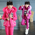 2016 Winter girls water bottles pattern solid color three-piece suit children warm down clothing coat