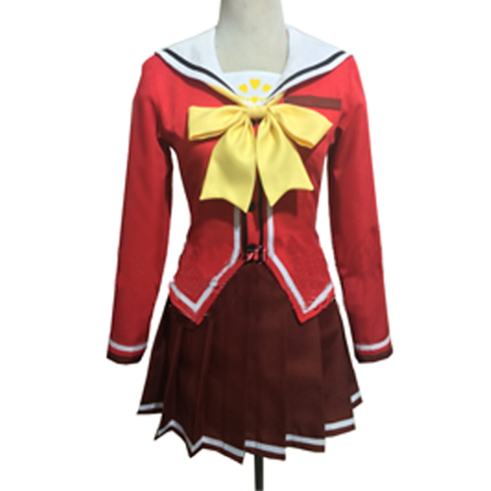 2017 New Anime Charlotte Nao Tomori Red School Uniform Cosplay Costume