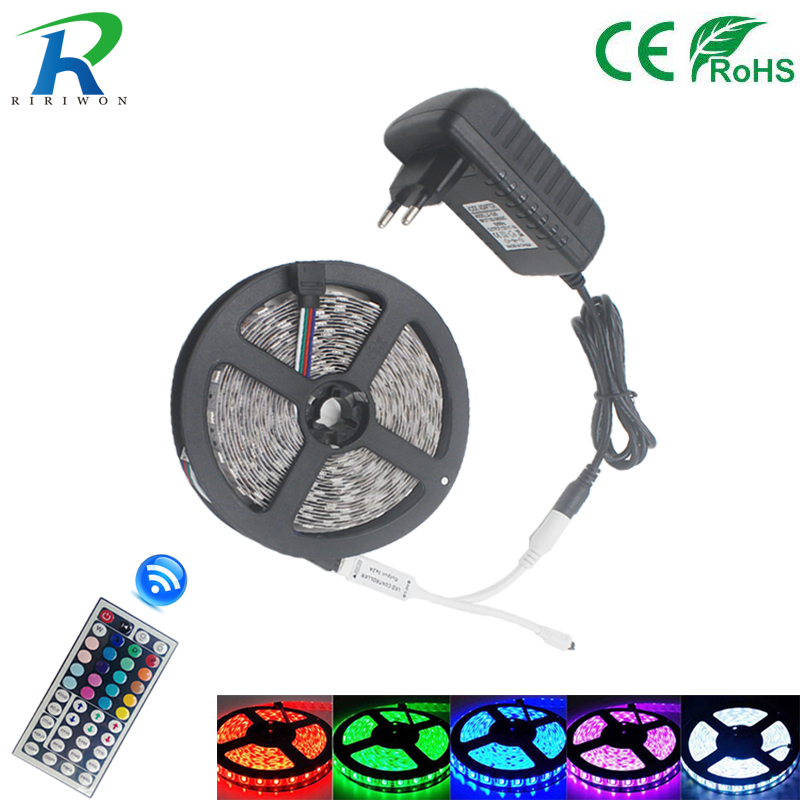 5050 LED Strip light RGB 30LEDs/m Diode LED Tape RGB 10M SMD5050 LED Ribbon for home decoration with remote + adapter