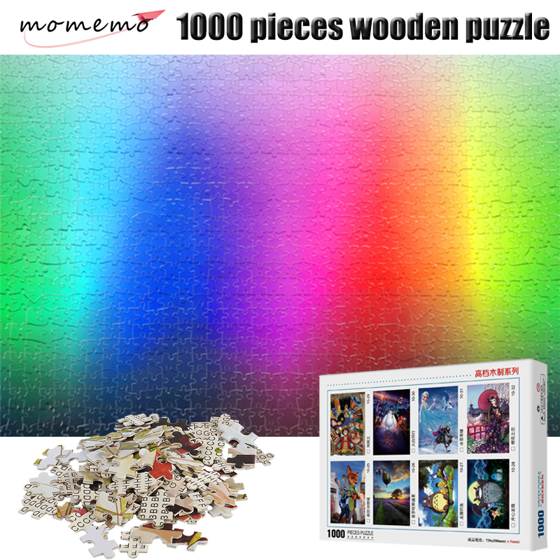 MOMEMO RGB Rainbow Puzzles 1000 Pieces Gradient Color Pattern Wooden Jigsaw Puzzles Adult Assembling Toys Creative Puzzle Toys