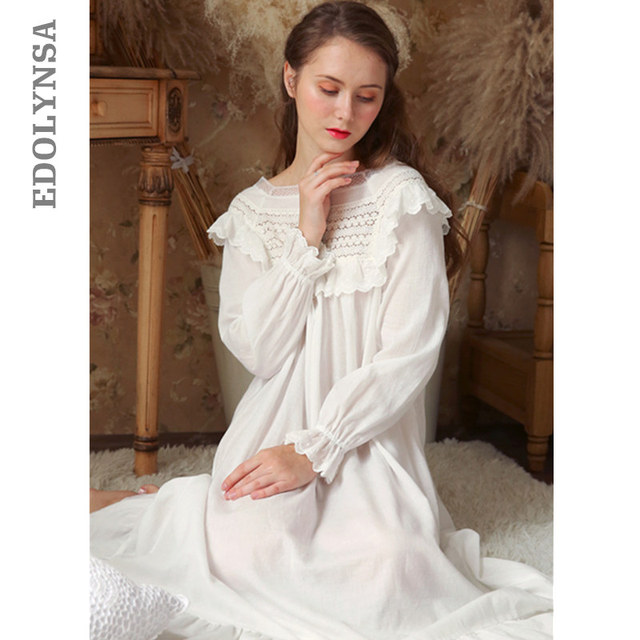33e37d0225 Victorian Draped Nightdress Vintage Long Nightgown Autumn Sleepwear Women  Night Wear Sleep Shirt Home Dress Cotton Homewear T344