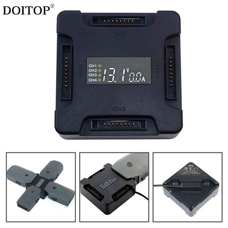 DOITOP 4 in 1 Battery Charging Hub Parallel Board Charger Adapter for DJI Mavic Pro With Digital Display Drone Battery Charger