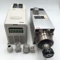 4.5KW ER32 Air cooled CNC Spindle Motor 220V + 5.5KW VFD Inverter Variable Frequency Driver for CNC Woodworking Router