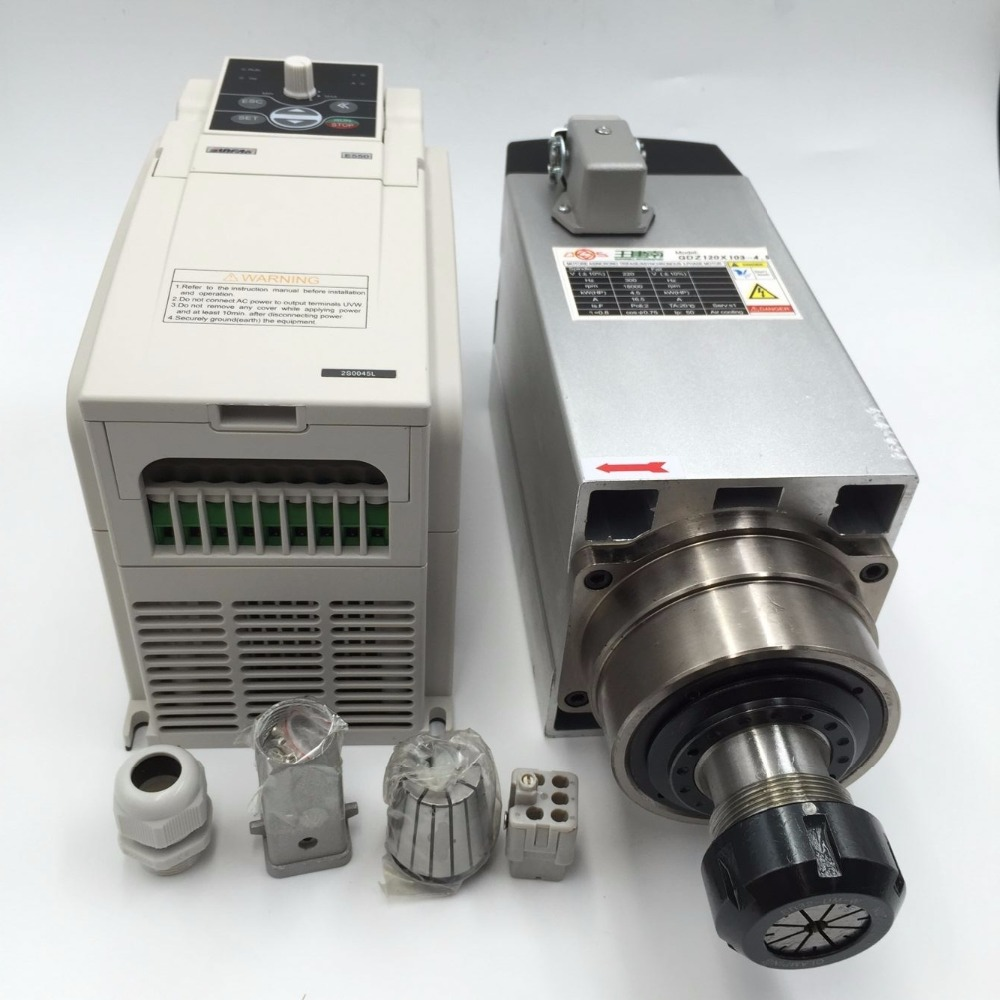 4.5KW ER32 refroidi par Air CNC Moteur de Broche 220 V + 5.5KW VFD Onduleur Pilote À Fréquence Variable pour CNC Routeur À Bois