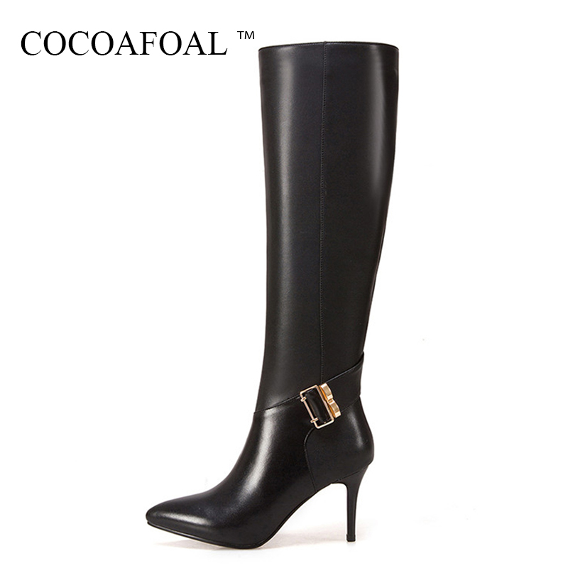 COCOAFOAL Women Black Genuine Leather Knee High Boots Winter High Heeled Shoes Plus Size 33 Sexy Chelsea Knee High Boots Boots 20cm pole dancing sexy ultra high knee high boots with pure color sexy dancer high heeled lap dancing shoes