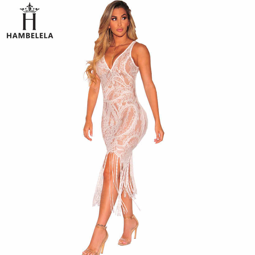 Hambelela Sexy See Through Lace Bodycon Dress Women V Neck Strap Tassel Maxi Dress Summer Party Long Camis Dress Sexy Clubwear