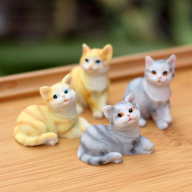 Cute Cat Animal Miniature Fairy Garden Home Houses Decoration Mini Craft Micro Landscaping Decor DIY Accessories