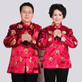 Chinese Traditional Men Clothing Sweethearts Outfit Parents Costume Wedding Birthday Red Oriental Suit Tang Zhuang