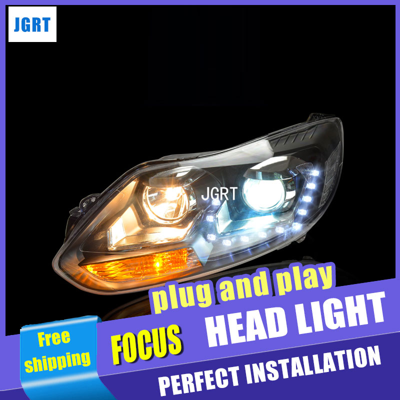 car styling For Ford Focus headlight assembly 2012-2013 For Ford Focus LED lamp angel eyes bi xenon lens h7 d2h hid kit 2pcs ownsun new style tear drop led projector lens headlight for new ford focus 2012 2013