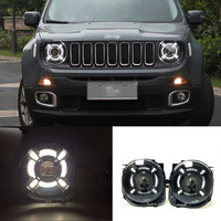 2pcs Car Accessories DRL Led Headlights For Jeep Renegade 2015 2016 2017 Front Bumper LED Bi xenon HID HeadLamps 55W