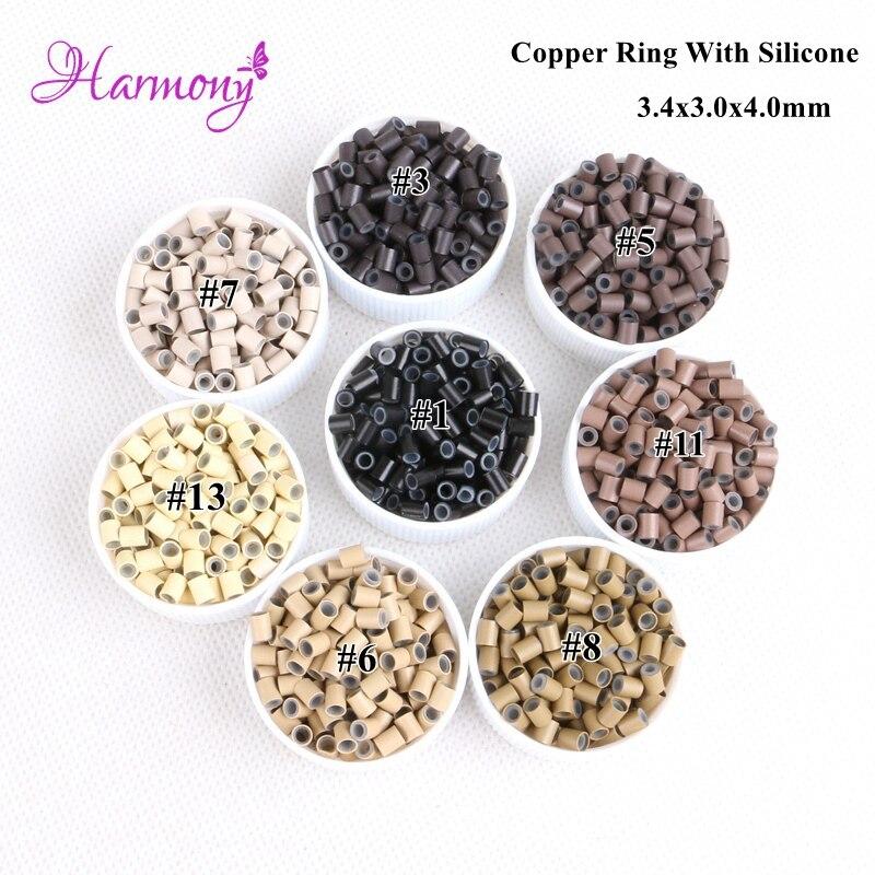 Harmonia Plus1000pcs 3.4*3.0*4mm cabelo micro anéis beads