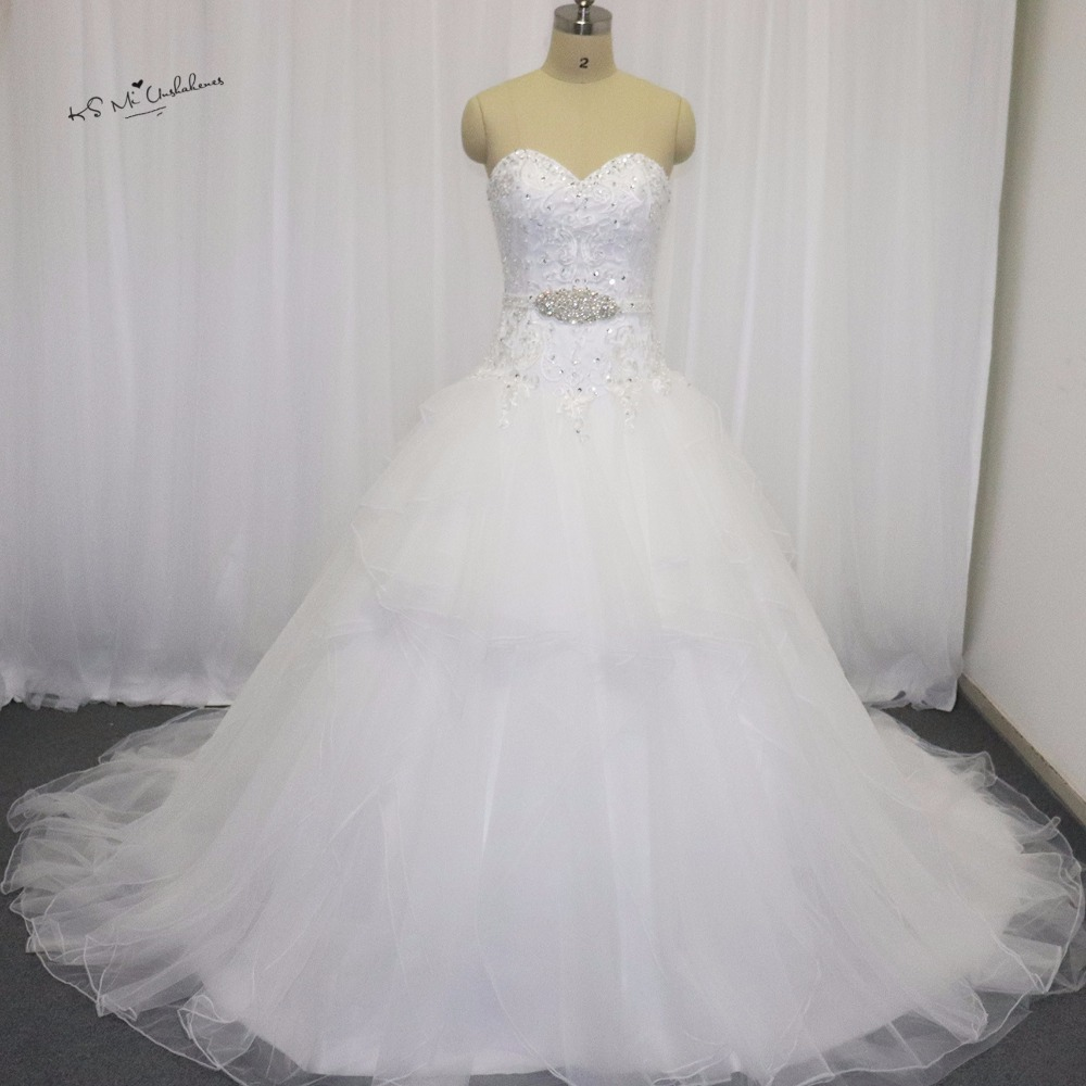 Vestido de Casamento Country Western Ball Gown Wedding Dresses 2017 Lace Wedding Gowns Organza Ruffles Bride Dress Matrimonio gown
