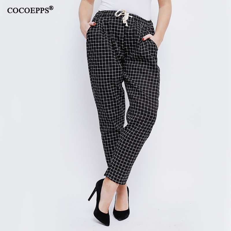 2018 Fashion Summer High Waist loose Plus Size 4XL 5XL Plaid Trousers pencil trousers for women spring Large Size casual Pants