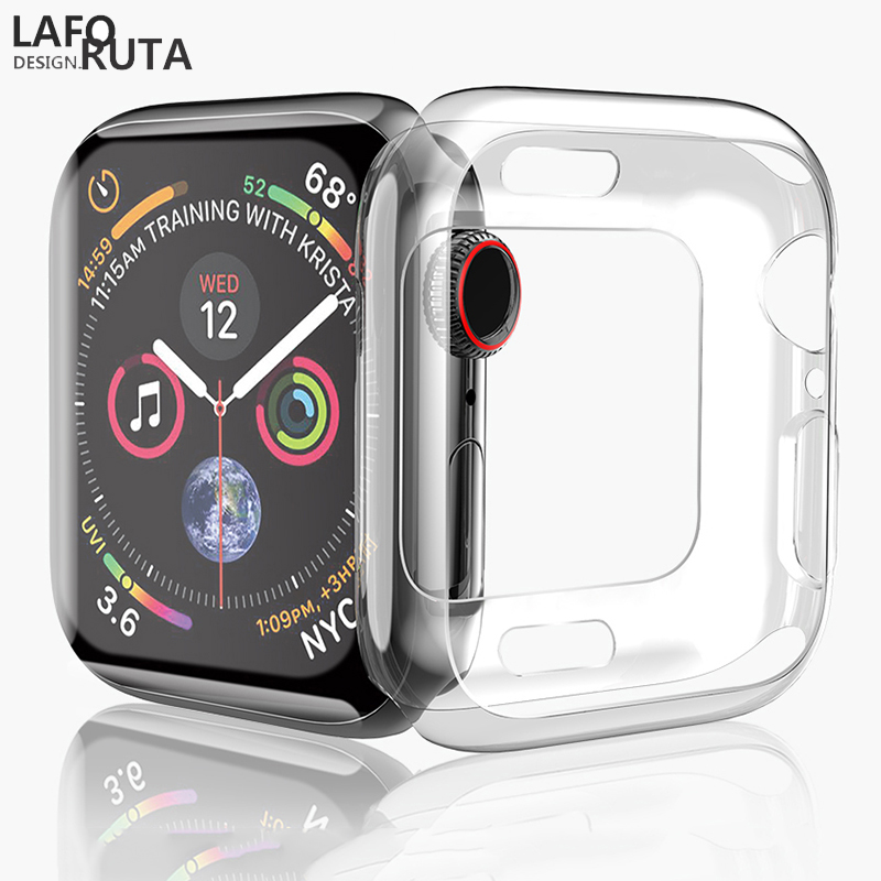 Laforuta Cover Case for Apple Watch 5 4 44mm 40mm Transparent TPU Soft Silicone Protective cover iWatch Series