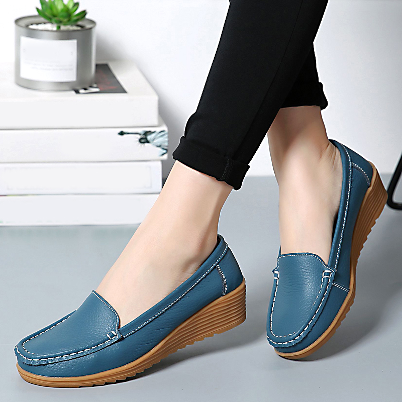 2019 Autumn Women Genuine Leather Shoes Women Slip On Loafers Flats Shoes Women Flats Ballet  Casual Flat Shoes Female Moccasins