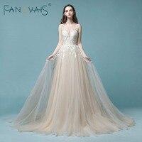 Light Champagne Lace Wedding Dress Beach Bridal Gowns Wedding Gowns Tulle Wedding DressesVestido de Novia 2018 robe de mariage