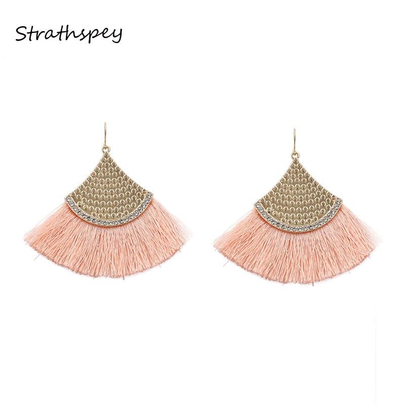 STRATHSPEY Bohemia Tassels Earrings Gold Fan-shaped Earrings Women Accessories Cotton Handmade Earring Ethnic Jewelry Pink Color