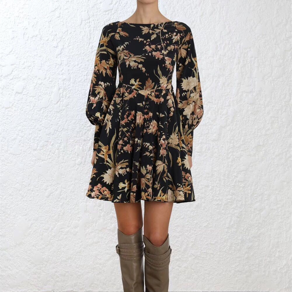 e354f50484be4 US $181.8 |Women Blouson Button Cuffs Basque Black Jonquil Floral Print  Mini Dress Black and Beige Silk Blend Unbridled Basque Mini Dress -in  Dresses ...