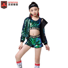 Kids Fashion Sequins Modern Jazz Dance Costume Hip Hop Dancewear Top&Pants&coat