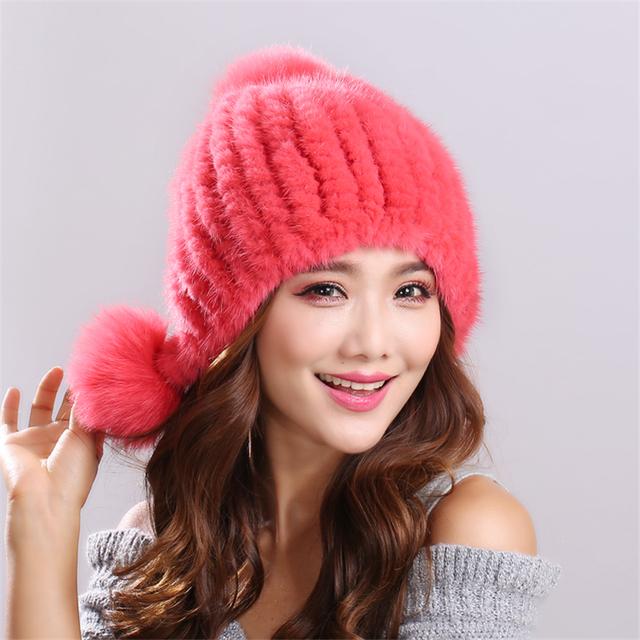 Color sólido de la raya de Piel de Visón Gorros Cálido y confortable Rongqiu Espesar Mujer Cap Invierno Sombrero De Piel de Punto de Visón Real # H9022