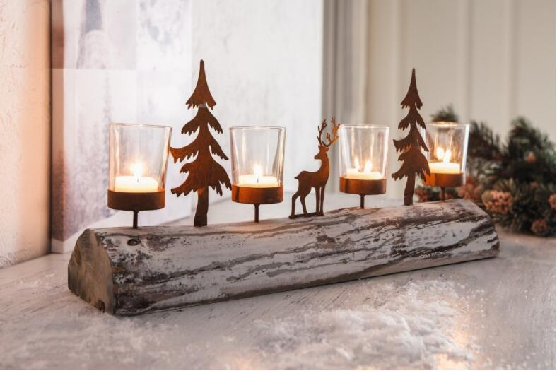48X10X20.5CM,Natural trunk candlestick set with candle cup. Family decoration fawn candlestick set.Xmas gift