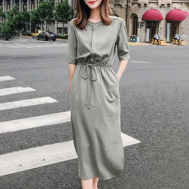 Summer Office Ladies Elegant Casual Vintage Sweet Korean Women Midi Dresses Split Plain Lace Up High Waist Female Fashion Dress