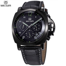 MEGIR Men Waterproof Chronograph Multifunction Military Digital Watch Leather Luxury Hot Sale Quartz Watches Relogio Masculino
