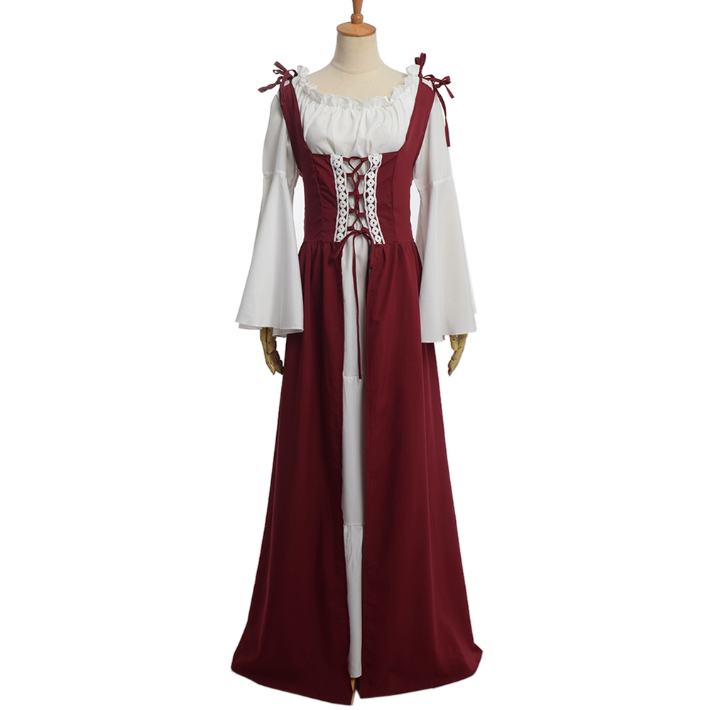 Adult Women Renaissance Medieval Costume Long Gown Dress Victorian Blue Lacing Wedding Clothes For Ladies