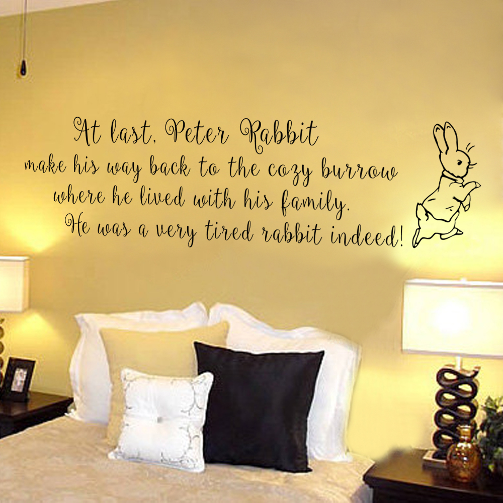 US $20.69 |Nursery Room Wall Decal Peter Rabbit Children Wall Quote Bedroom  Art 35.6cm x116.8cm-in Wall Stickers from Home & Garden on Aliexpress.com  ...